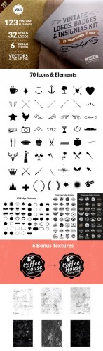 CreativeMarket - Vintage Logos, Badges Kit-Value Pack