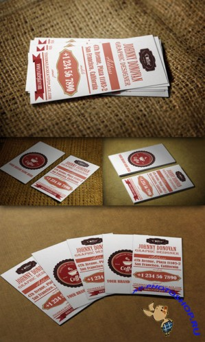 CreativeMarket - Retro Business Card 51093 - PSD Template #1