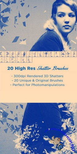 20 Fractured Shatter Photoshop Brushes