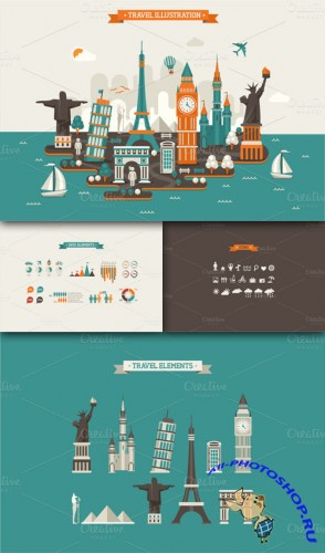 CreativeMarket - Travel InfoGraphic Elements 12622