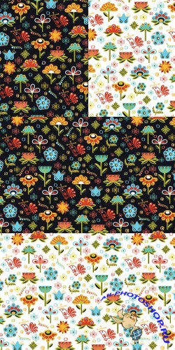 2 Flowers Seamless Pattern Vector Set