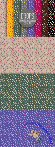 Drops Seamless Background Bright Vector Set