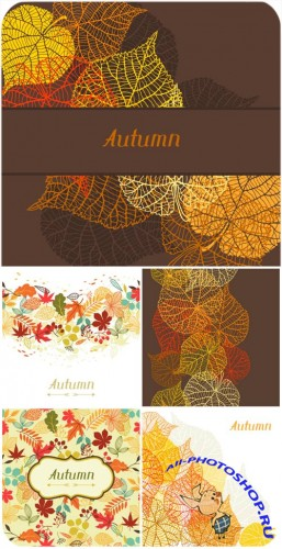������� ��������� ���� � ����������� �������� / Autumn vector background with golden leaves