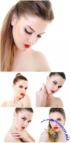 �������� ������� � ������� ������� / Beautiful girl with red lipstick - Stock photo