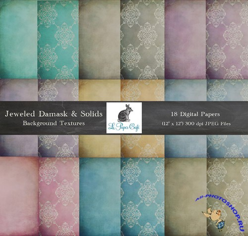 18 Jeweled Damask Solids Backgrounds