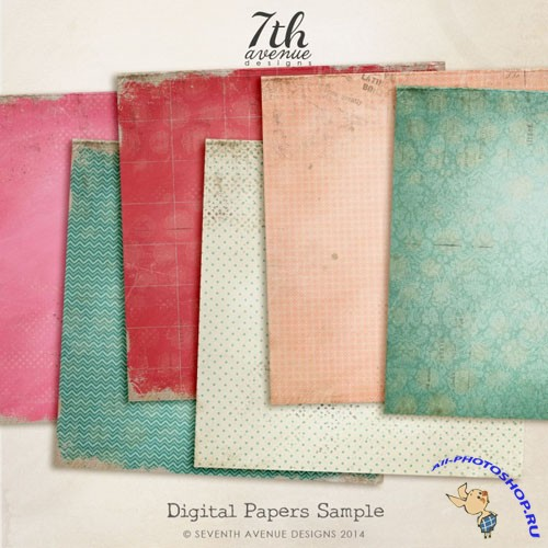 6 Colored Digtial Papers Textures Collection