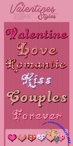 6 Colored Valentines Day Photoshop ASL Styles