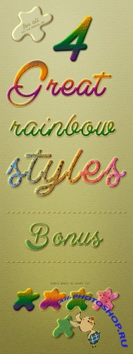 4 Great Rainbow Photoshop Styles V2