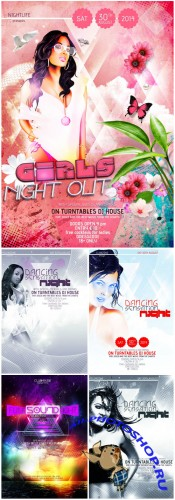 VectorCity Dancing Night Party Flyer/Poster PSD Template Pack 1