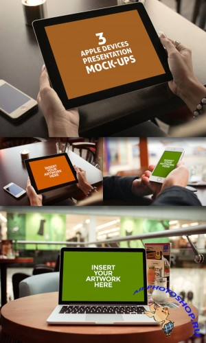 3 Apple Devices Presentation PSD Mock-ups