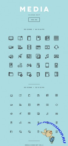 Vector Media Icon Set Vol 6