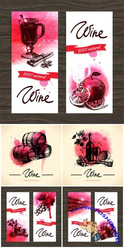 ����, ���� � ������� � ������� / Wine, backgrounds and banners vector