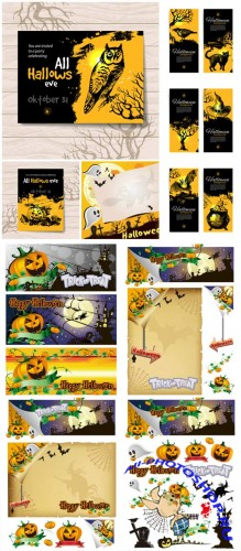��������, ���� � ������� � ������� / Halloween backgrounds and banners vector