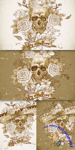 CreativeMarket - Skull with flowers 30140