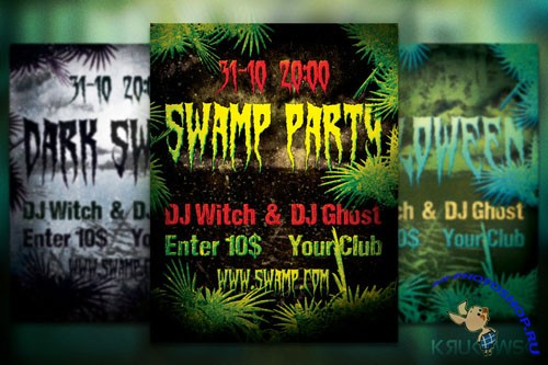 Spooky Swamp Party Flyer/Poster PSD Template