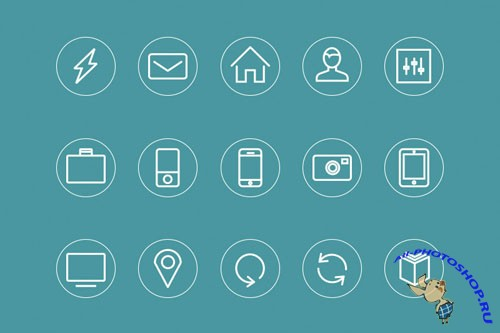 15 Minimal Style Vector Icons - Ai, EPS and PSD Template