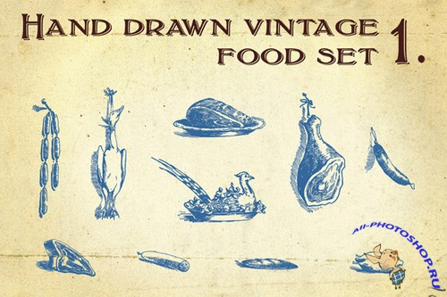Hand Drawn Vintage Food Vector Set 1