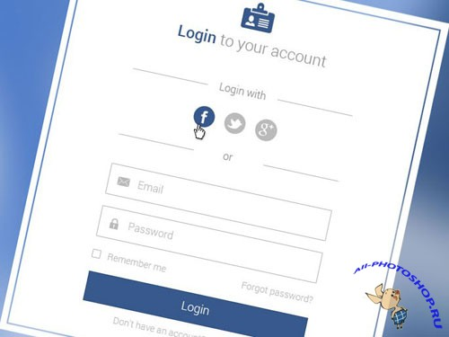 Flat Login Form PSD Template