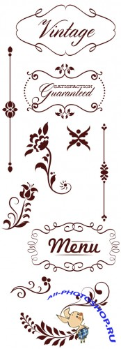 Vector Calligraphic Floral Set 1