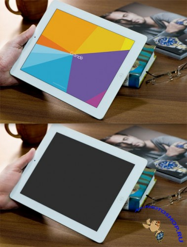 iPad on Table Photorealistic Device PSD Mockup