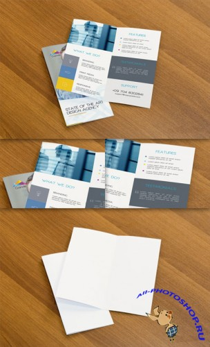 Two Professional Bifold Flyers PSD Mockup