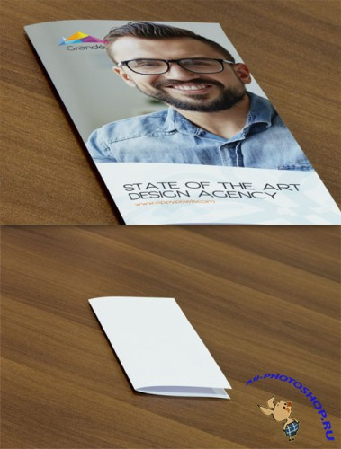 Professional PSD Mockup of Two Bifold Flyers