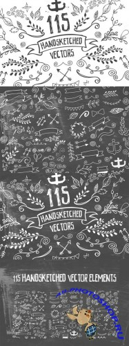 115 Handsketched Elements Vector Kit