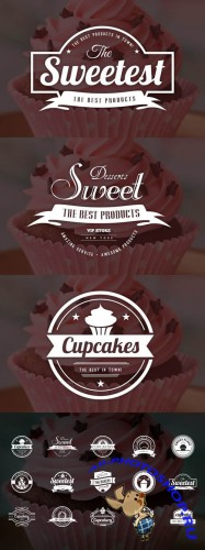 Bakery Cupcakes and Cakes Logos Vector Set