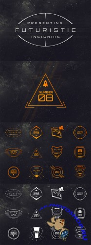 12 Sci-Fi Badges Vector Set