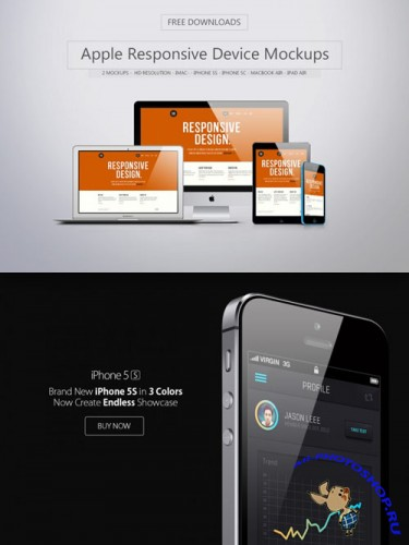 Apple Responsive Device PSD Mockups