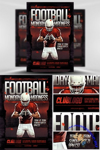 Football Monday Madness Flyer Template PSD