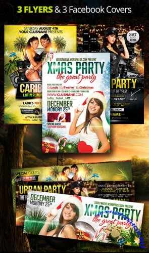 3 Flyers and Facebook Covers Templates