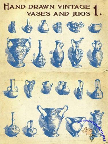 Hand Drawn Vintage Vases and Jugs Vector Set 1