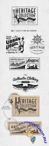 Vector Hand Drawn Apparel Label Designs