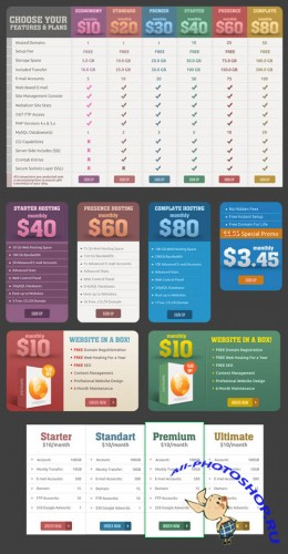 Pricing Tables and Banners PSD