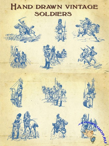 Hand Drawn Vintage Soldiers Vector Set