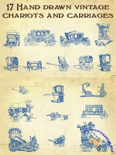 Hand Drawn Vintage Carriages Vector Set