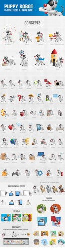 Puppy Robot Cartoon Character Vector Illustrations