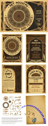 CreativeMarket - Art Nouveau Backgrounds and Frames 27233