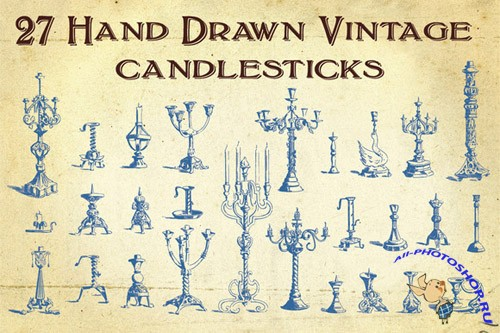 Vector 27 Hand Drawn Vintage Candlesticks