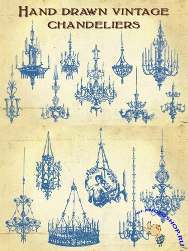 Vector Hand Drawn Vintage Chandeliers