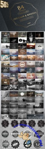 CreativeMarket - 84 Vintage Insignia Badges Bundle 29152