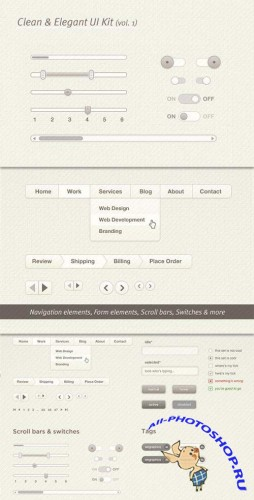 Soft Elegant User Interface Kit - UI PSD Template