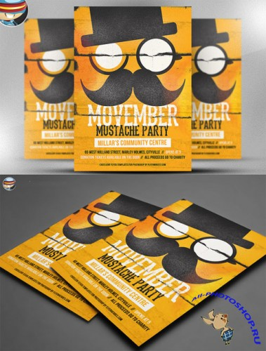 CreativeMarket - Movember Mustache Party Flyer
