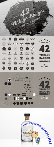 CreativeMarket - Vintage Badges Bundle 37291