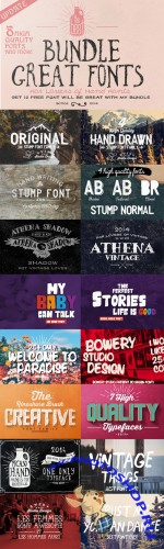 CreativeMarket - Big Bundle 8 fonts + Bonus