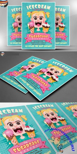 CreativeMarket - Ice Cream Cup Cakes Flyer Template