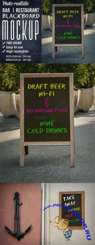 CreativeMarket - Bar outdoor blackboard mockup
