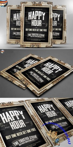CreativeMarket - Framed Happy Hour PSD Flyer Template