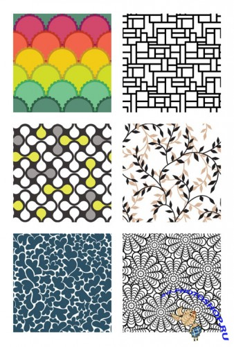 6 Seamless Geometric Patterns Vector Elements